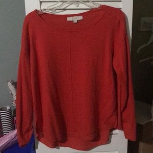 Loft red sweater with semi sheer back size medium